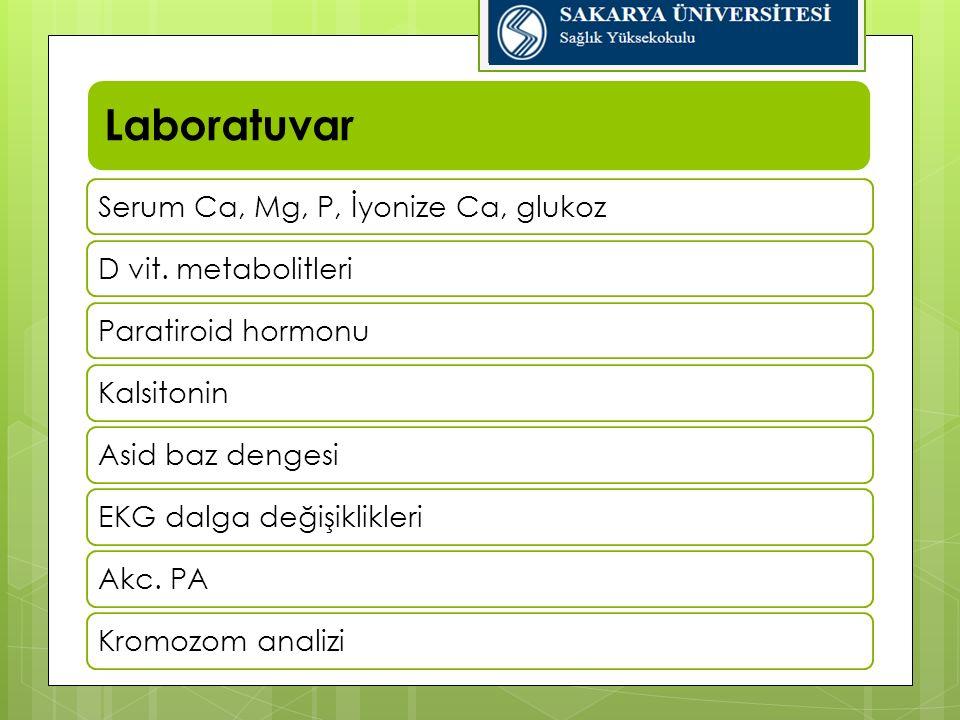 Laboratuvar Serum Ca, Mg, P, İyonize Ca, glukoz D vit. metabolitleri