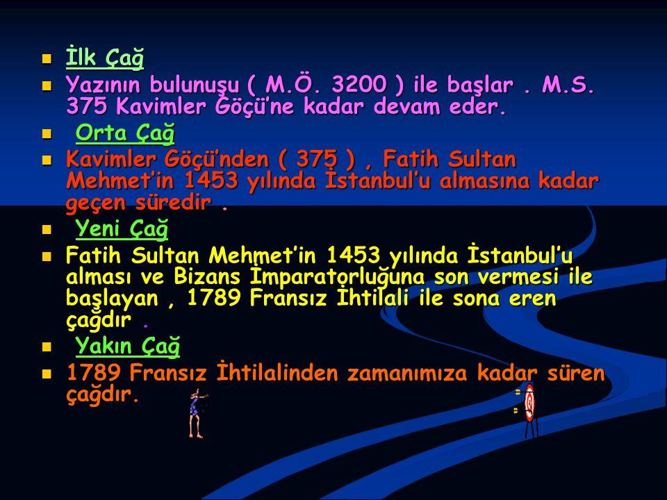 İlk Çağ Yazının bulunuşu ( M.Ö. 3200 ) ile başlar . M.S. 375 Kavimler Göçü'ne kadar devam eder. Orta Çağ.