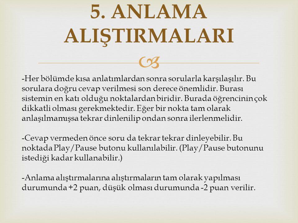 5. ANLAMA ALIŞTIRMALARI