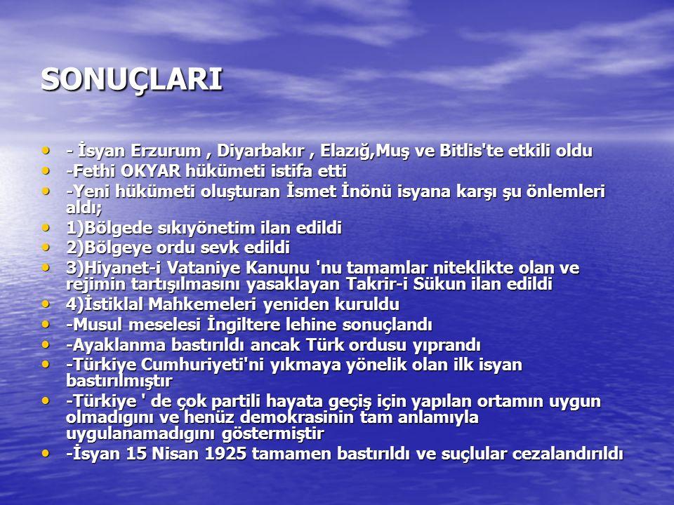 SONUÇLARI - İsyan Erzurum , Diyarbakır , Elazığ,Muş ve Bitlis te etkili oldu. -Fethi OKYAR hükümeti istifa etti.