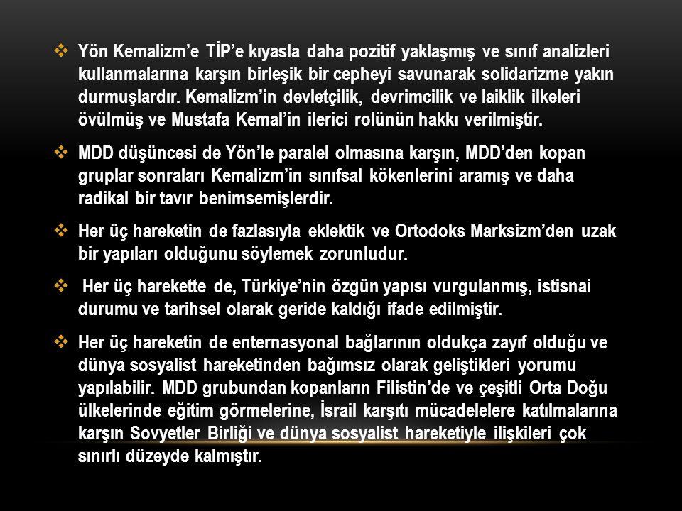 Yön Kemalizm'e TİP'e kıyasla daha pozitif yaklaşmış ve sınıf analizleri kullanmalarına karşın birleşik bir cepheyi savunarak solidarizme yakın durmuşlardır. Kemalizm'in devletçilik, devrimcilik ve laiklik ilkeleri övülmüş ve Mustafa Kemal'in ilerici rolünün hakkı verilmiştir.