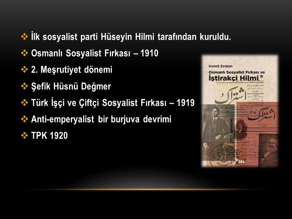 İlk sosyalist parti Hüseyin Hilmi tarafından kuruldu.