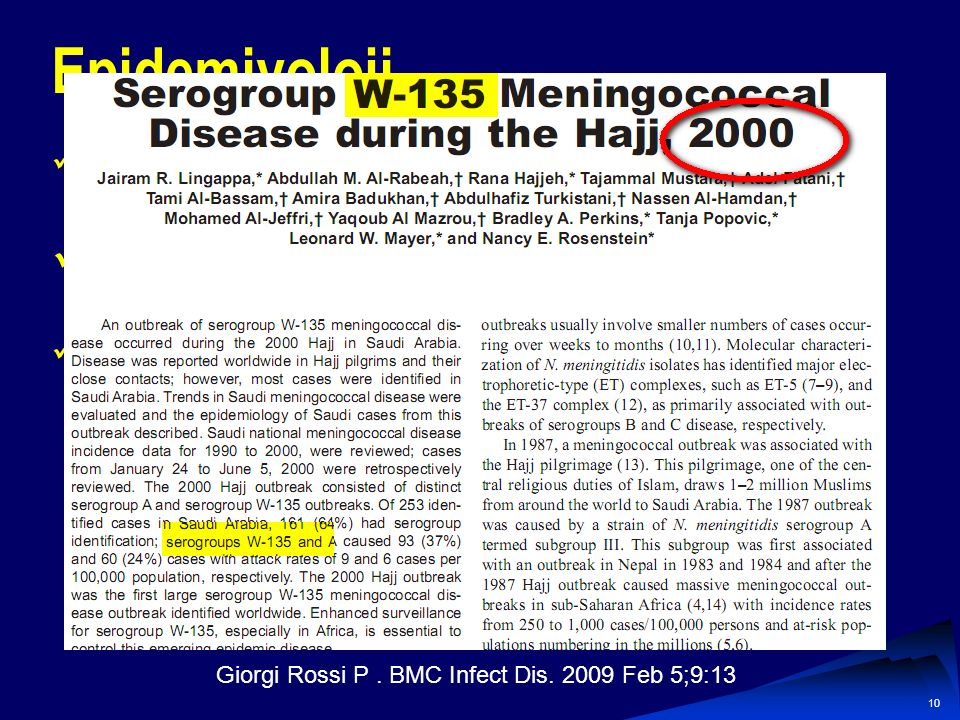 Giorgi Rossi P . BMC Infect Dis. 2009 Feb 5;9:13