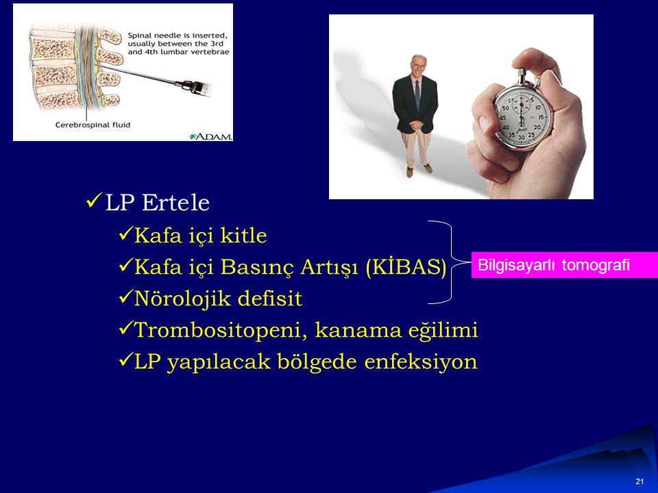 LP Ertele Kafa içi kitle Kafa içi Basınç Artışı (KİBAS)