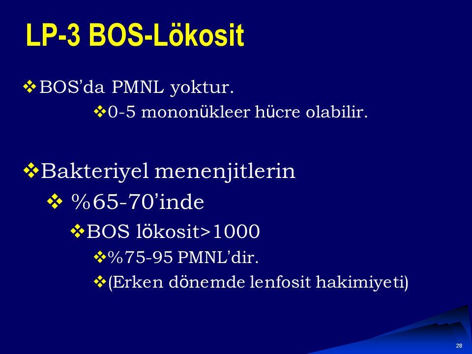 LP-3 BOS-Lökosit Bakteriyel menenjitlerin %65-70'inde