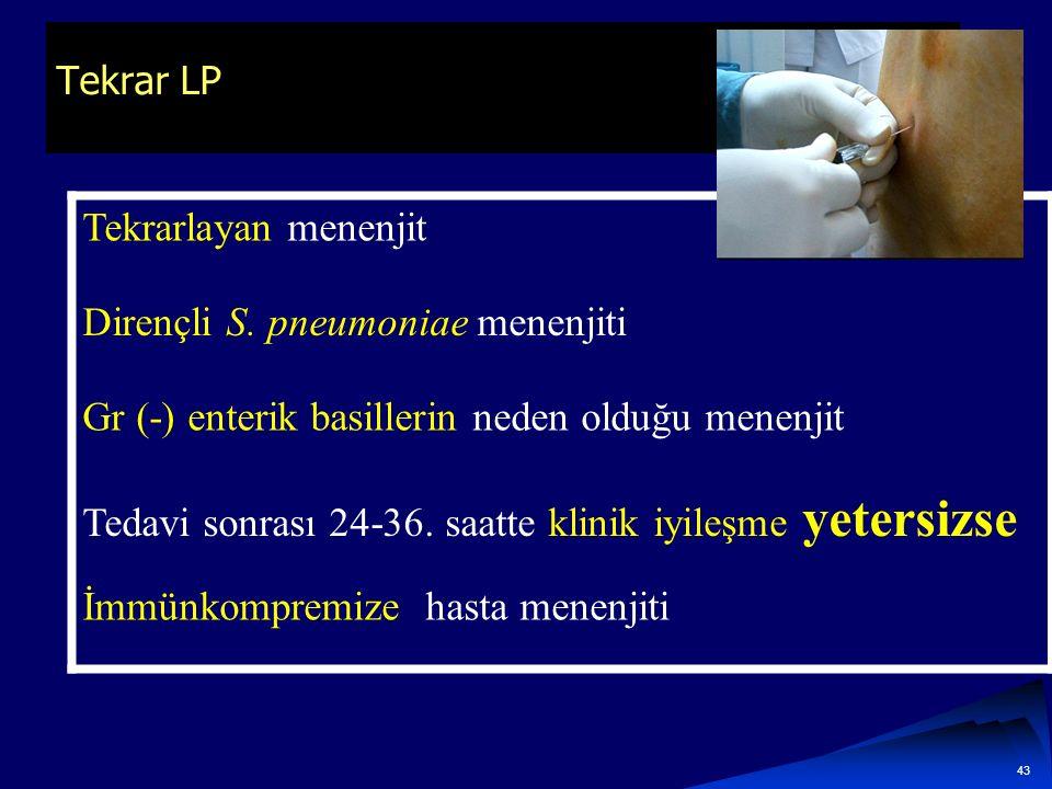 Tekrar LP Tekrarlayan menenjit Dirençli S. pneumoniae menenjiti