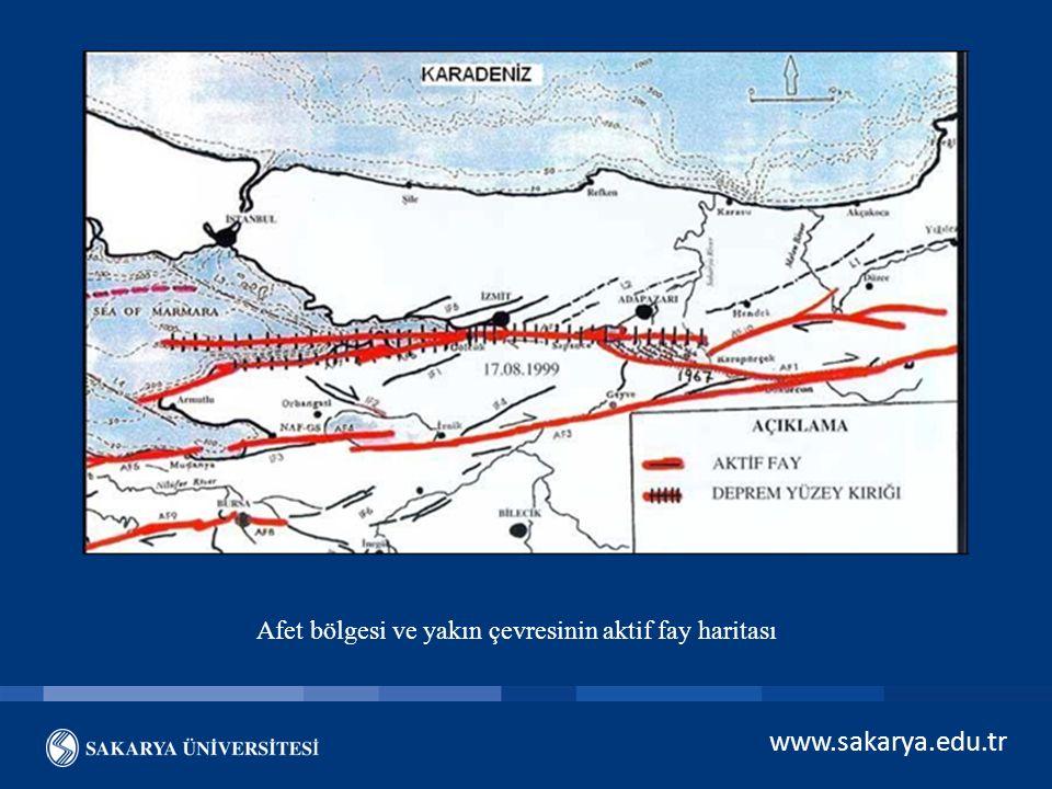 Afet bölgesi ve yakın çevresinin aktif fay haritası
