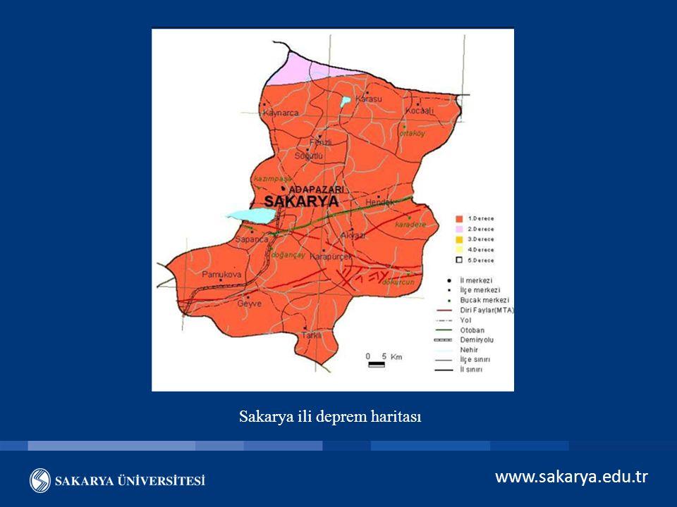 Sakarya ili deprem haritası