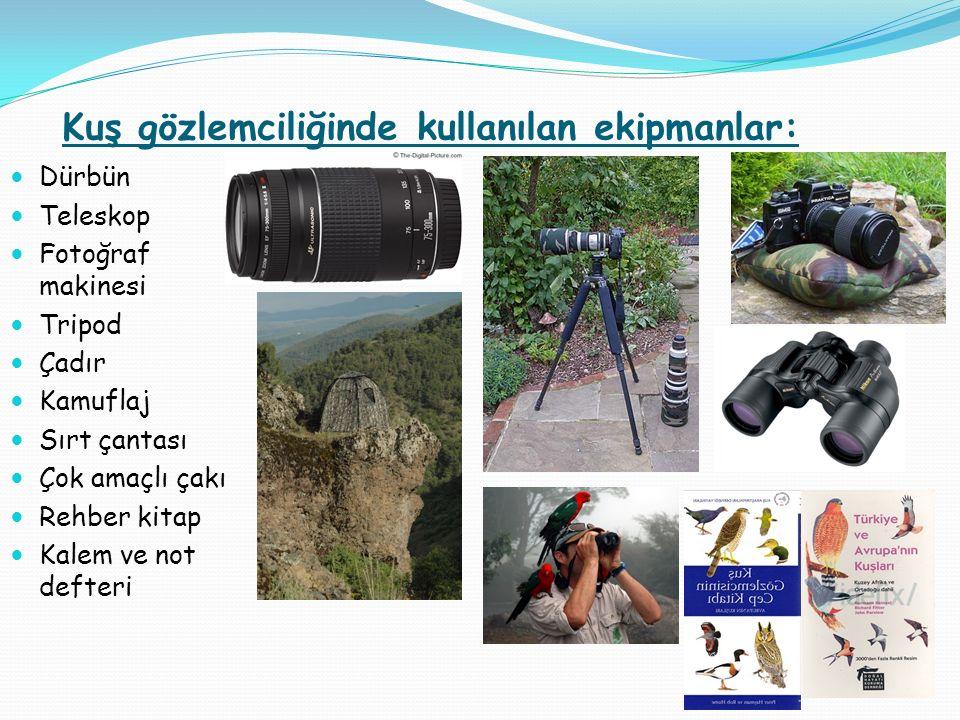 Kuş gözlemciliğinde kullanılan ekipmanlar: