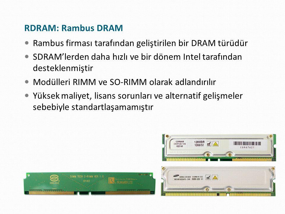 RDRAM: Rambus DRAM Rambus firması tarafından geliştirilen bir DRAM türüdür. SDRAM'lerden daha hızlı ve bir dönem Intel tarafından desteklenmiştir.