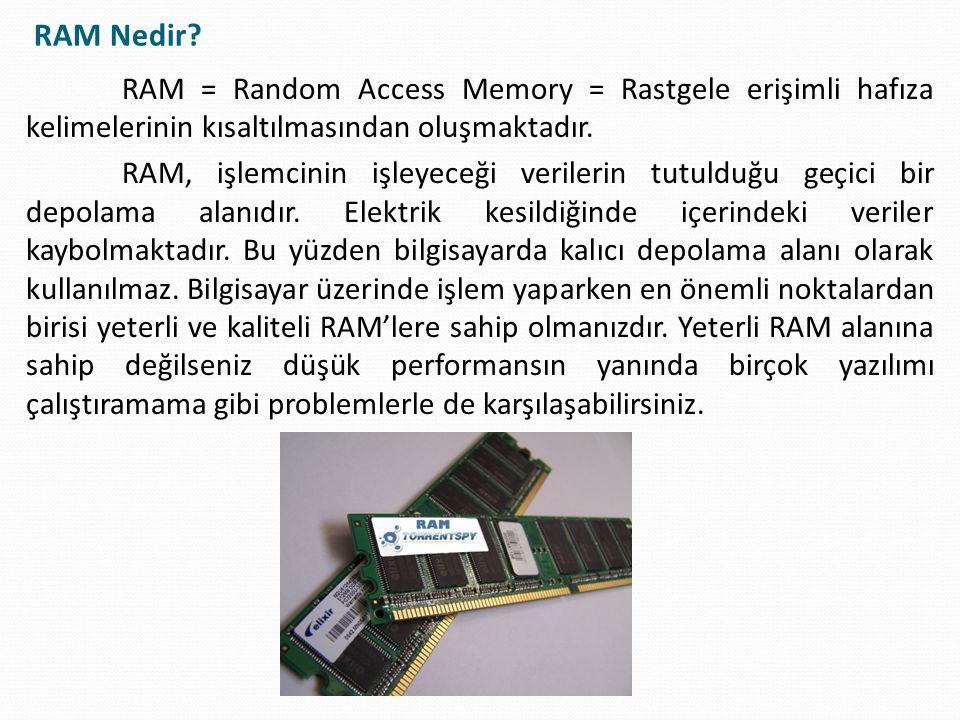 RAM Nedir RAM = Random Access Memory = Rastgele erişimli hafıza kelimelerinin kısaltılmasından oluşmaktadır.