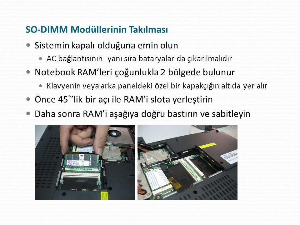 SO-DIMM Modüllerinin Takılması