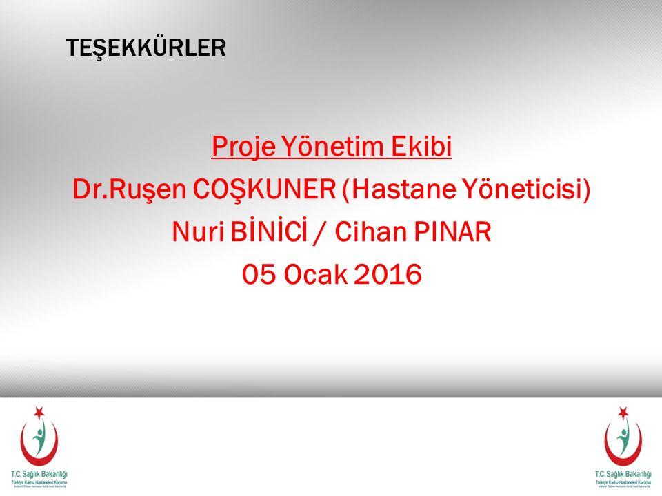 teşekkürler Proje Yönetim Ekibi Dr.Ruşen COŞKUNER (Hastane Yöneticisi) Nuri BİNİCİ / Cihan PINAR 05 Ocak 2016