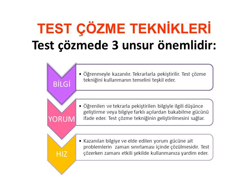 TEST ÇÖZME TEKNİKLERİ Test çözmede 3 unsur önemlidir: