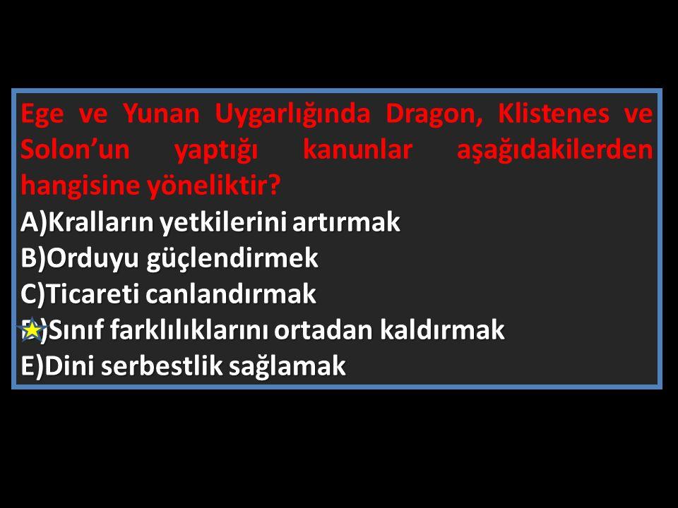 Ege ve Yunan Uygarlığında Dragon, Klistenes ve Solon'un yaptığı kanunlar aşağıdakilerden hangisine yöneliktir