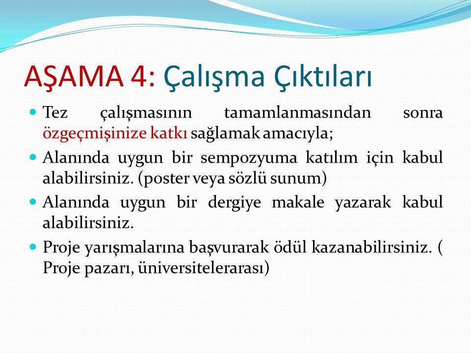 AŞAMA 4: Çalışma Çıktıları