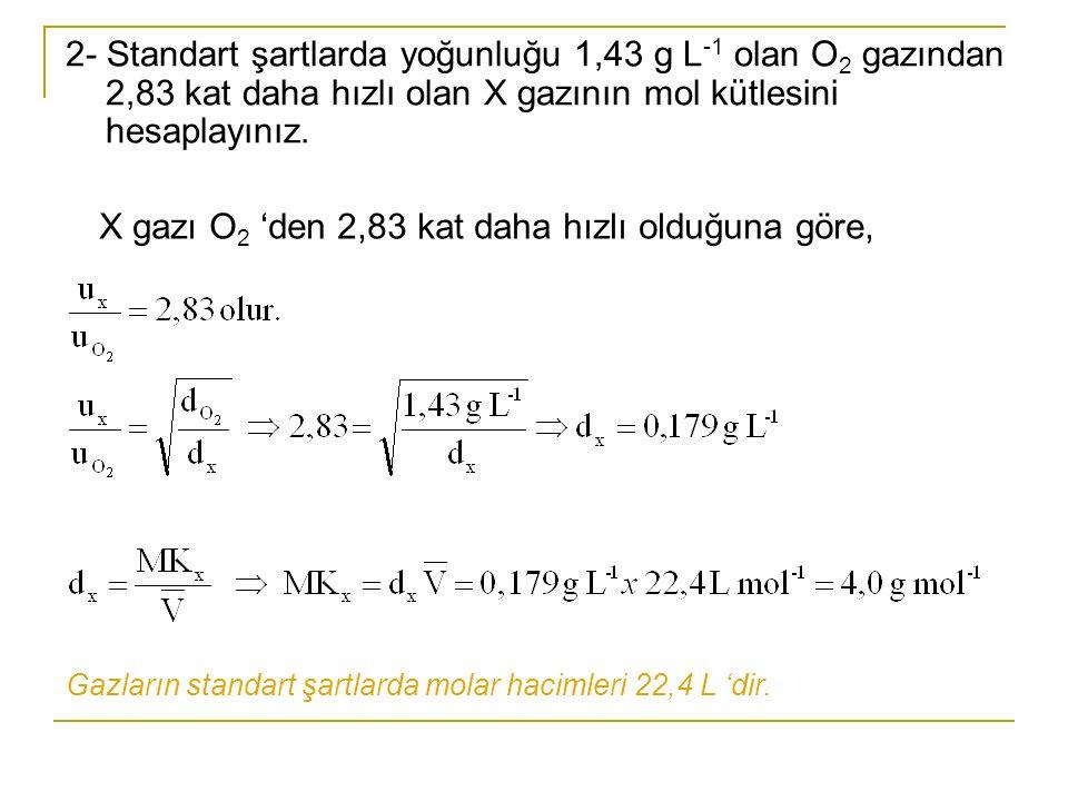 X gazı O2 'den 2,83 kat daha hızlı olduğuna göre,