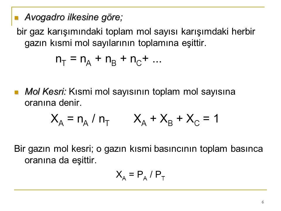 nT = nA + nB + nC+ ... XA = nA / nT XA + XB + XC = 1