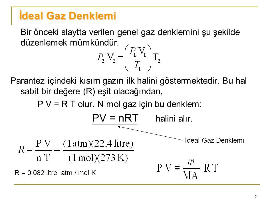 İdeal Gaz Denklemi Bir önceki slaytta verilen genel gaz denklemini şu şekilde düzenlemek mümkündür.