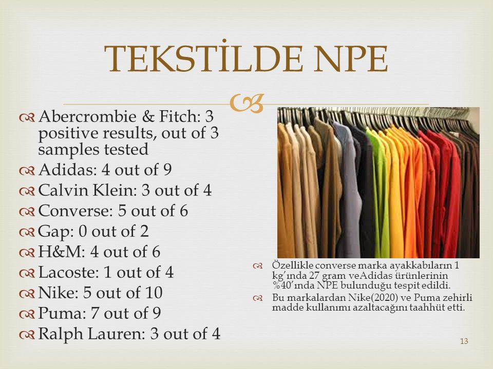 TEKSTİLDE NPE Abercrombie & Fitch: 3 positive results, out of 3 samples tested. Adidas: 4 out of 9.