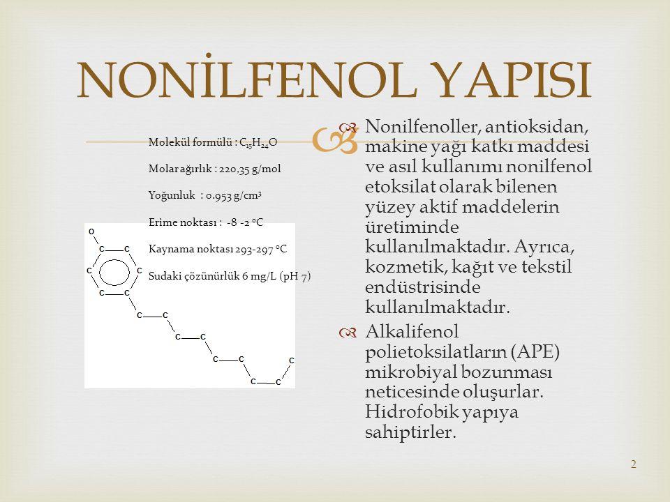 NONİLFENOL YAPISI Molekül formülü : C15H24O. Molar ağırlık : 220,35 g/mol. Yoğunluk : 0.953 g/cm3.