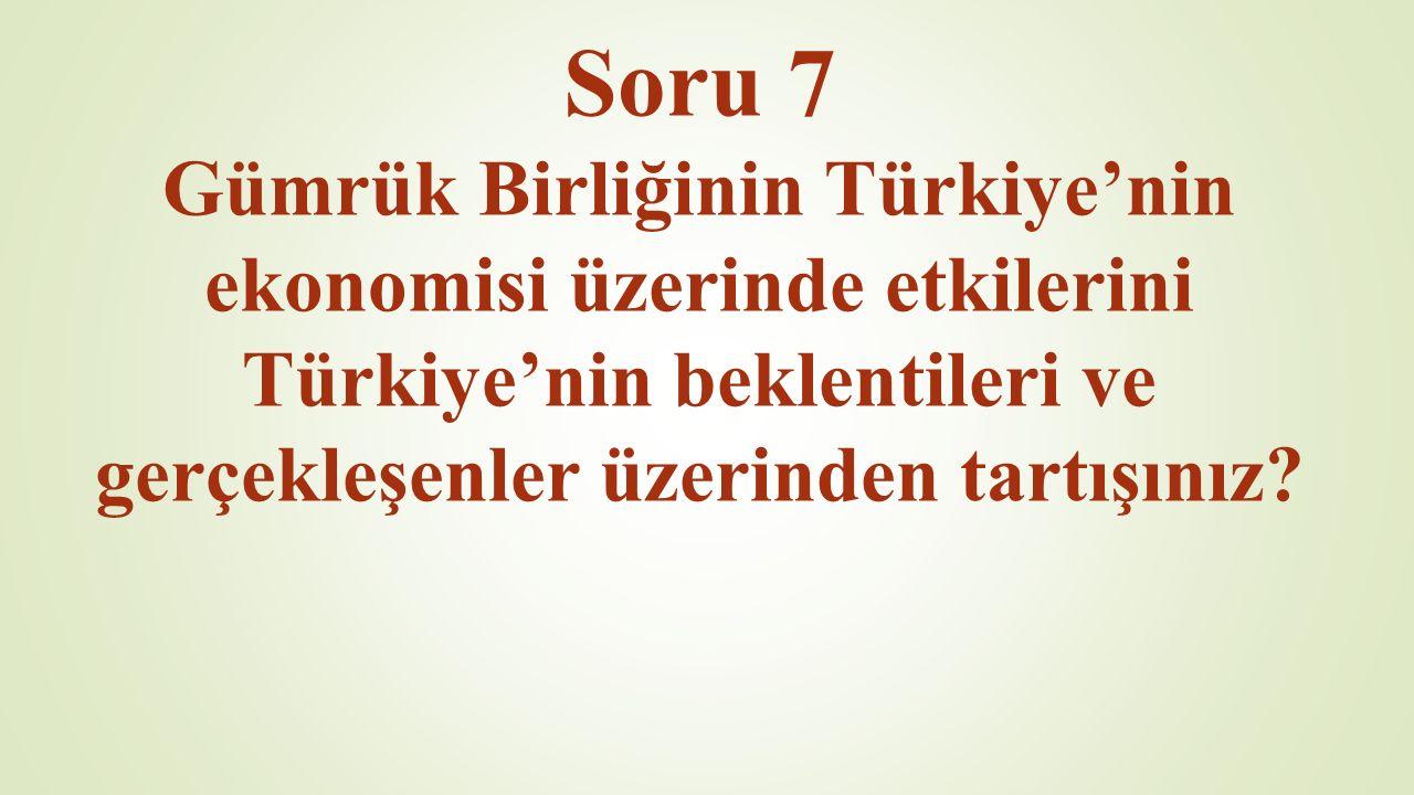 Soru 7 Gümrük Birliğinin Türkiye'nin ekonomisi üzerinde etkilerini Türkiye'nin beklentileri ve gerçekleşenler üzerinden tartışınız