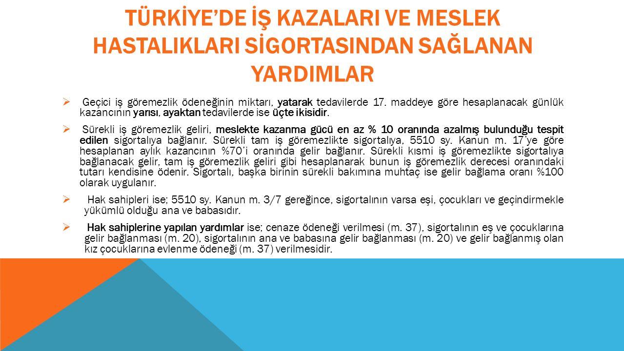 TÜRKİYE'DE İŞ KAZALARI VE MESLEK HASTALIKLARI SİGORTASINDAN SAĞLANAN YARDIMLAR