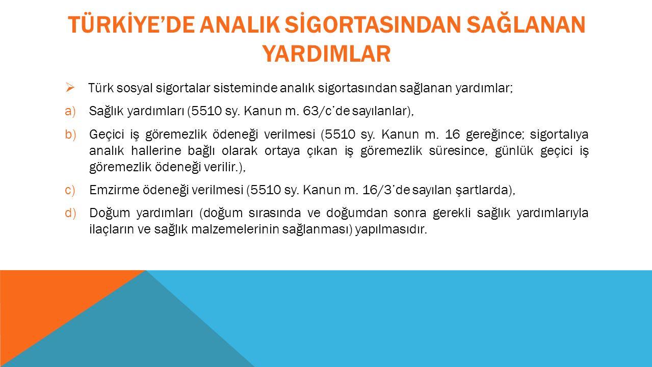 TÜRKİYE'DE ANALIK SİGORTASINDAN SAĞLANAN YARDIMLAR