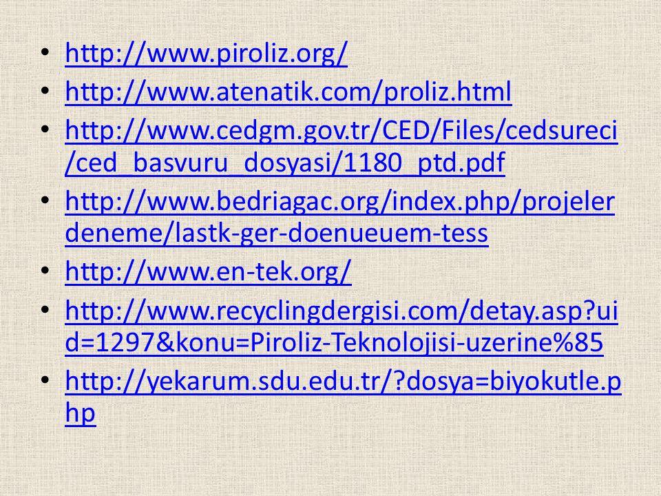 http://www.piroliz.org/ http://www.atenatik.com/proliz.html. http://www.cedgm.gov.tr/CED/Files/cedsureci/ced_basvuru_dosyasi/1180_ptd.pdf.