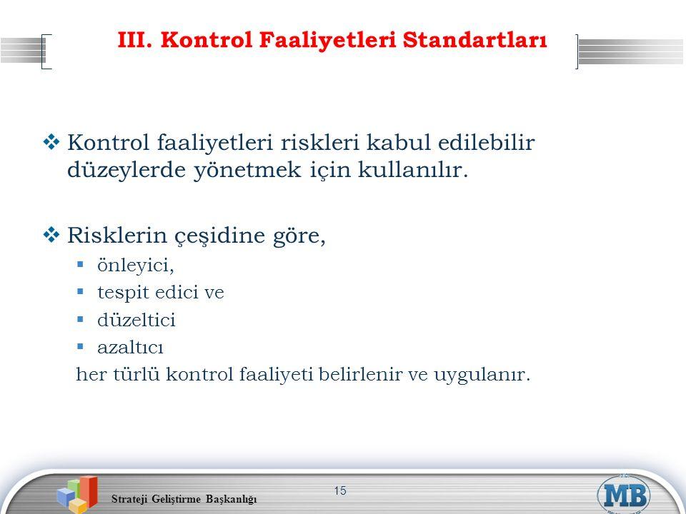 III. Kontrol Faaliyetleri Standartları