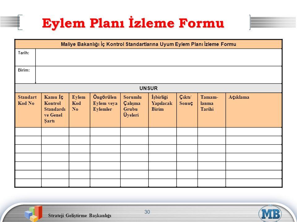 Eylem Planı İzleme Formu
