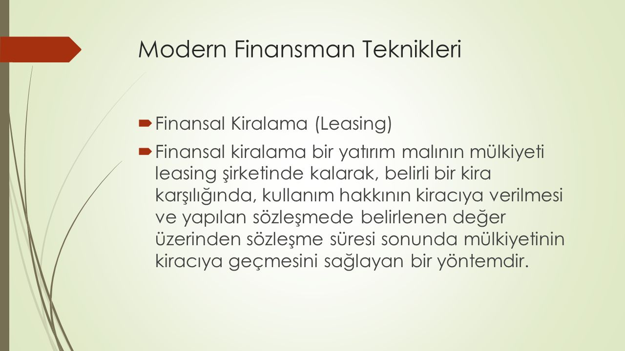 Modern Finansman Teknikleri