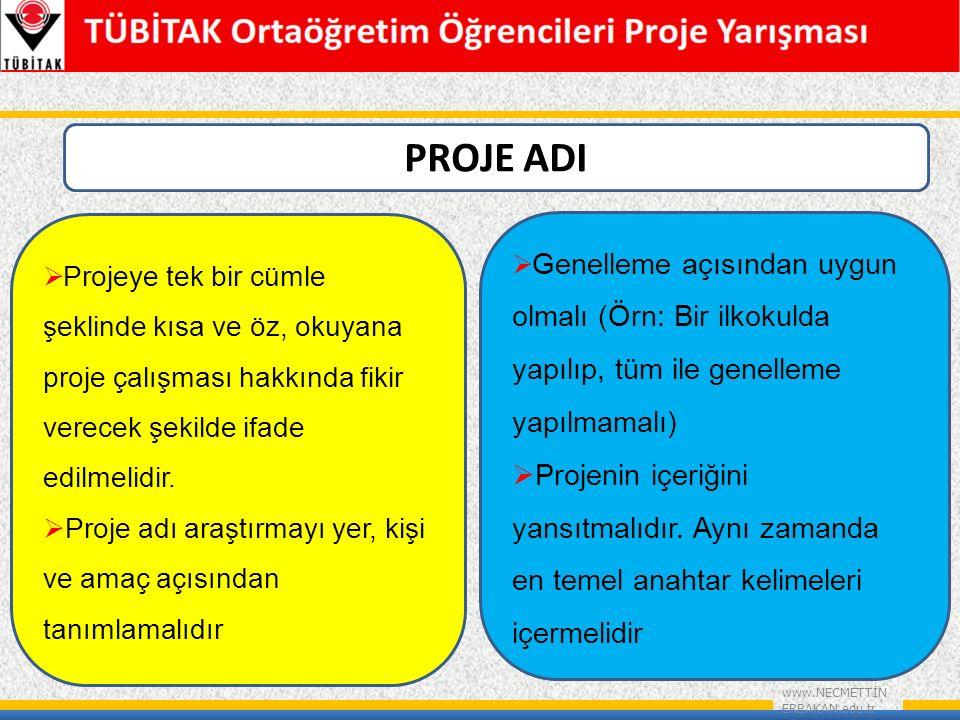 PROJE ADI Projeye tek bir cümle şeklinde kısa ve öz, okuyana proje çalışması hakkında fikir verecek şekilde ifade edilmelidir.
