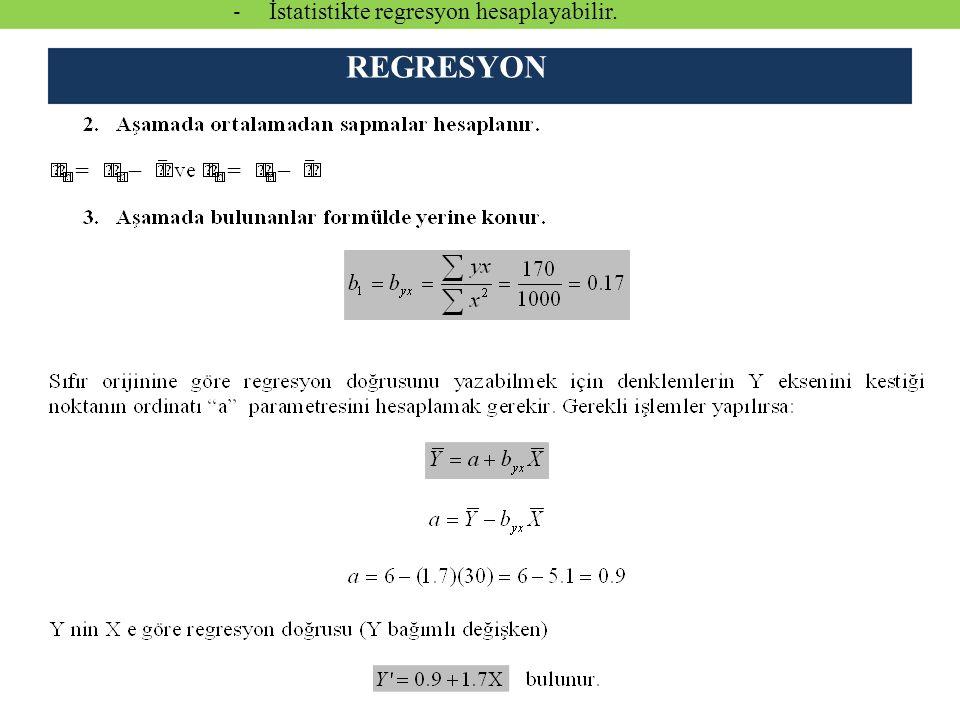 İstatistikte regresyon hesaplayabilir.