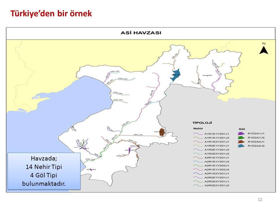 Türkiye'den bir örnek Havzada; 14 Nehir Tipi 4 Göl Tipi bulunmaktadır.