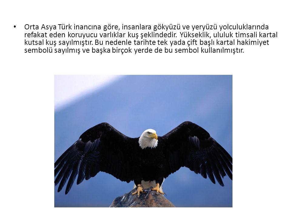 Orta Asya Türk inancına göre, insanlara gökyüzü ve yeryüzü yolculuklarında refakat eden koruyucu varlıklar kuş şeklindedir.