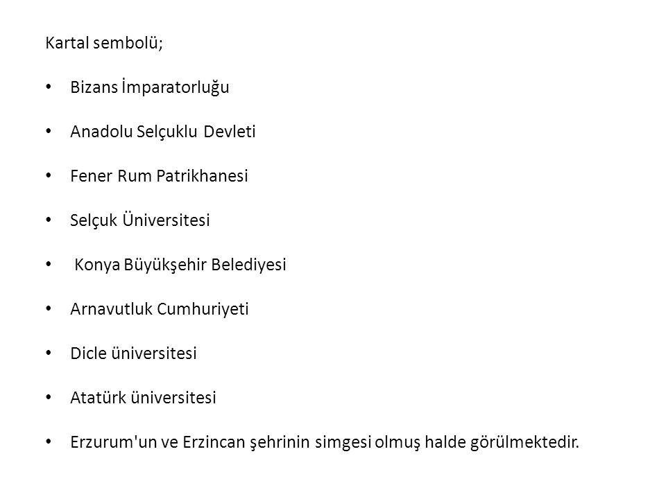 Kartal sembolü; Bizans İmparatorluğu. Anadolu Selçuklu Devleti. Fener Rum Patrikhanesi. Selçuk Üniversitesi.