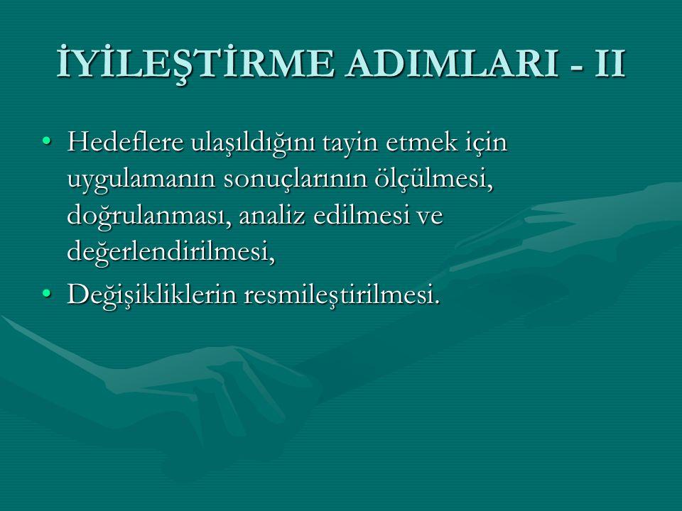 İYİLEŞTİRME ADIMLARI - II
