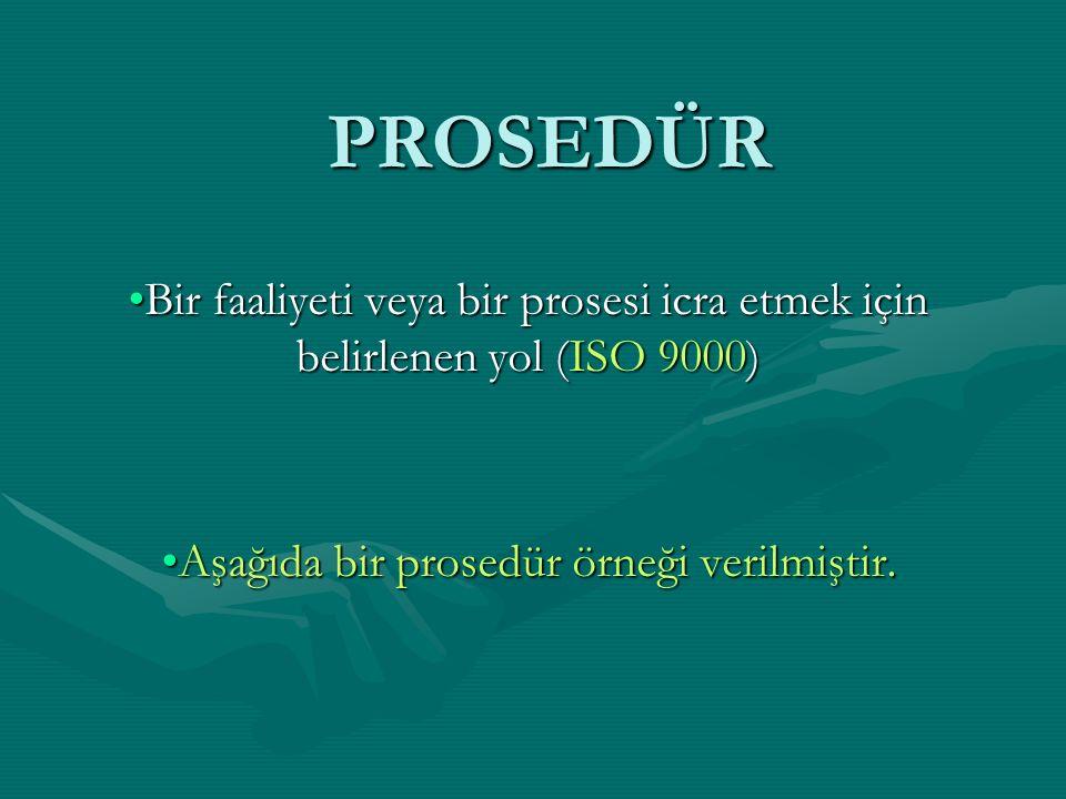 Aşağıda bir prosedür örneği verilmiştir.