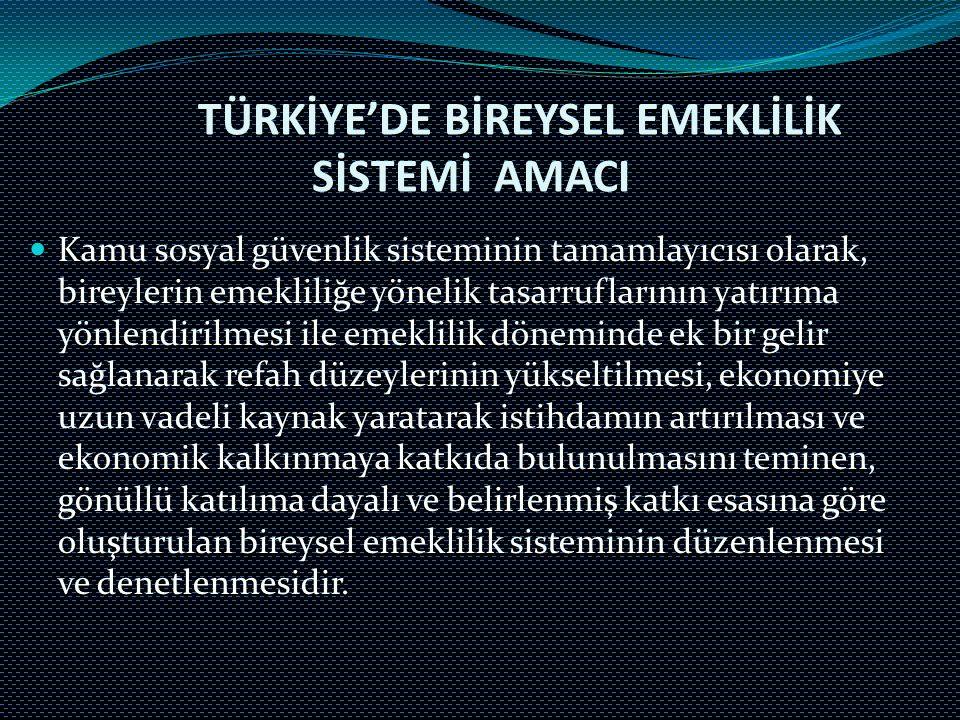TÜRKİYE'DE BİREYSEL EMEKLİLİK SİSTEMİ AMACI