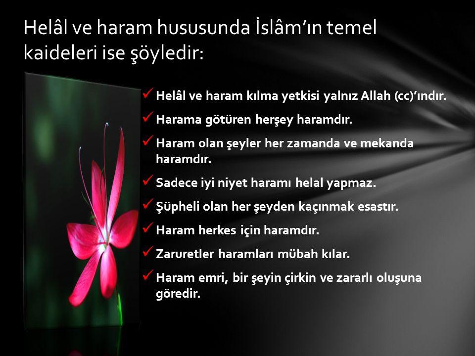 Helâl ve haram hususunda İslâm'ın temel kaideleri ise şöyledir:
