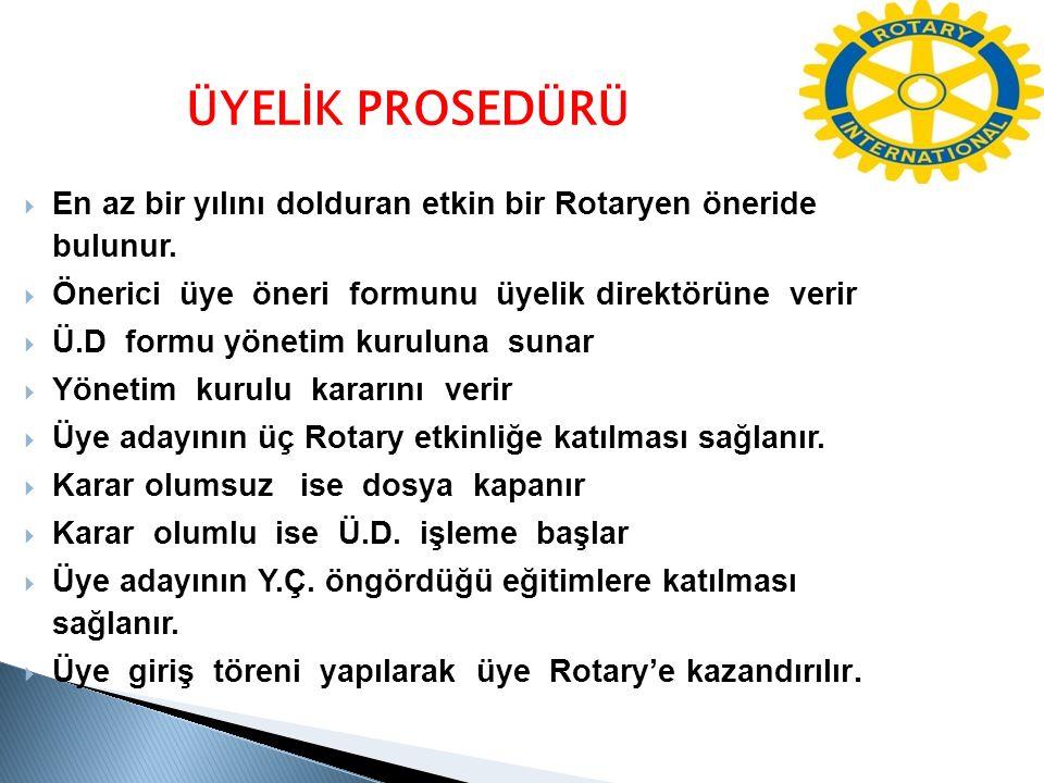 ÜYELİK PROSEDÜRÜ En az bir yılını dolduran etkin bir Rotaryen öneride bulunur. Önerici üye öneri formunu üyelik direktörüne verir.