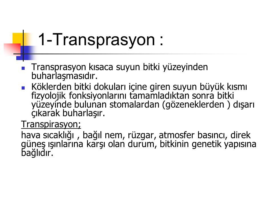 1-Transprasyon : Transprasyon kısaca suyun bitki yüzeyinden buharlaşmasıdır.