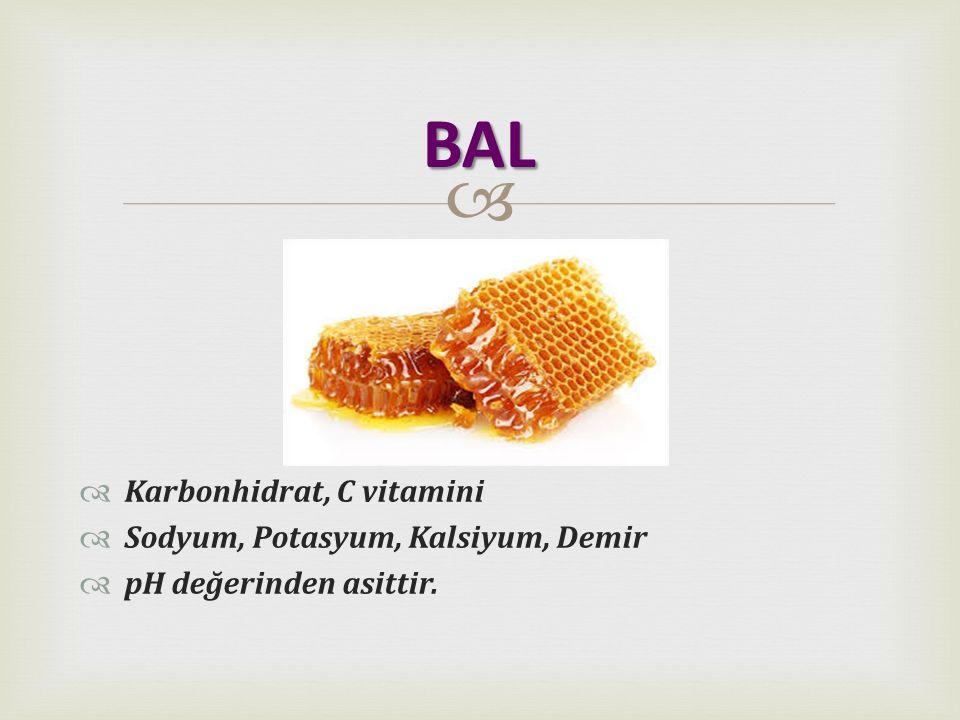 BAL Karbonhidrat, C vitamini Sodyum, Potasyum, Kalsiyum, Demir