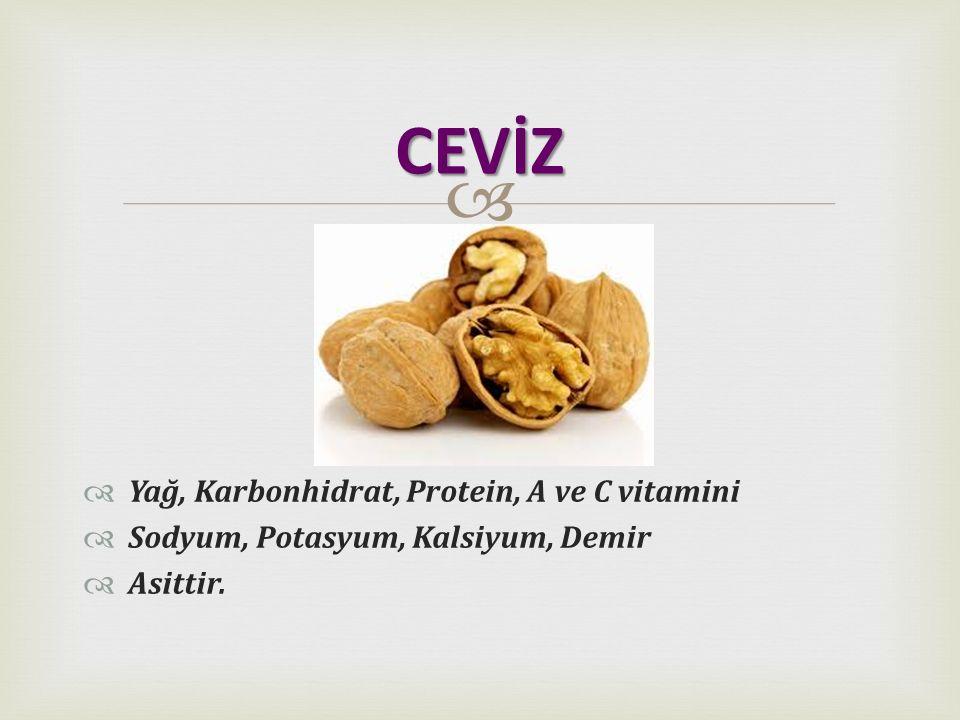 CEVİZ Yağ, Karbonhidrat, Protein, A ve C vitamini