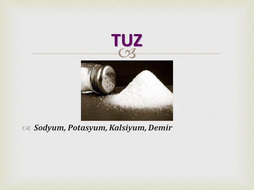 TUZ Sodyum, Potasyum, Kalsiyum, Demir