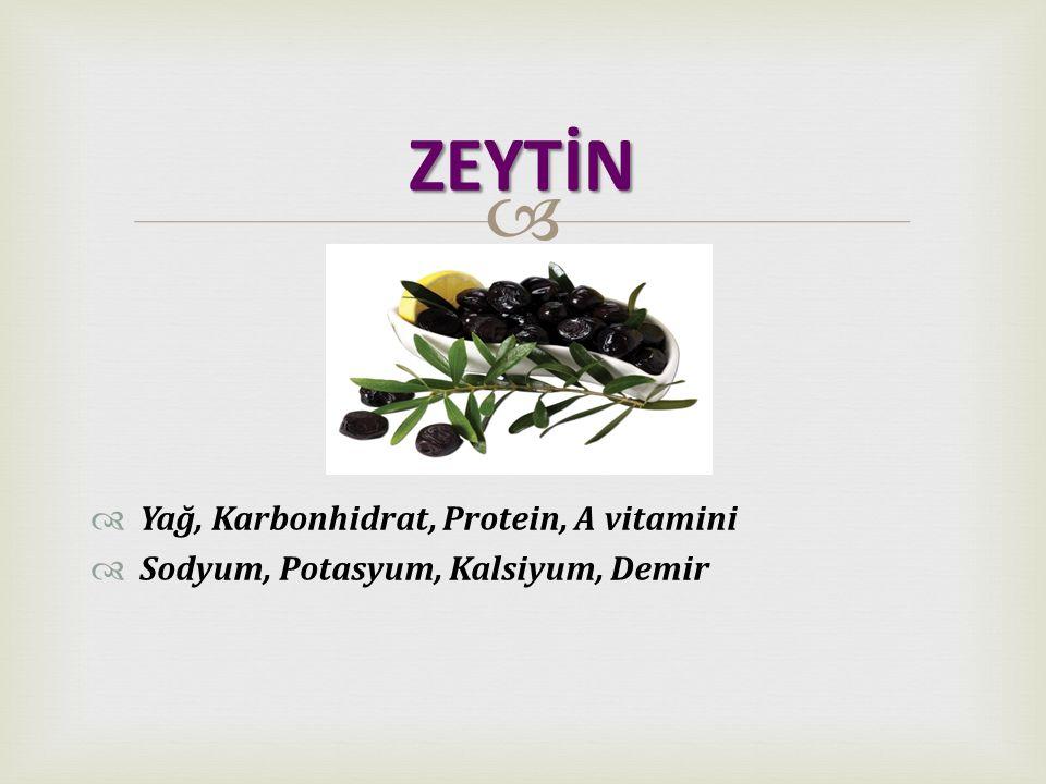 ZEYTİN Yağ, Karbonhidrat, Protein, A vitamini