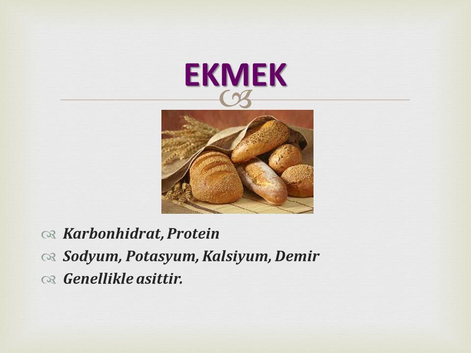 EKMEK Karbonhidrat, Protein Sodyum, Potasyum, Kalsiyum, Demir
