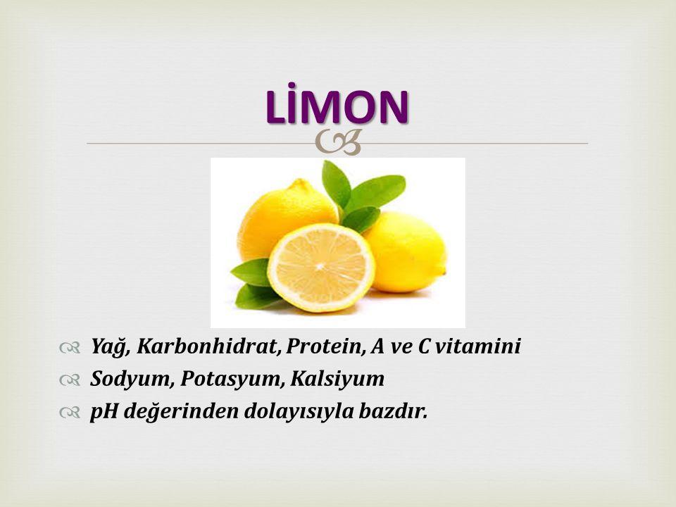 LİMON Yağ, Karbonhidrat, Protein, A ve C vitamini