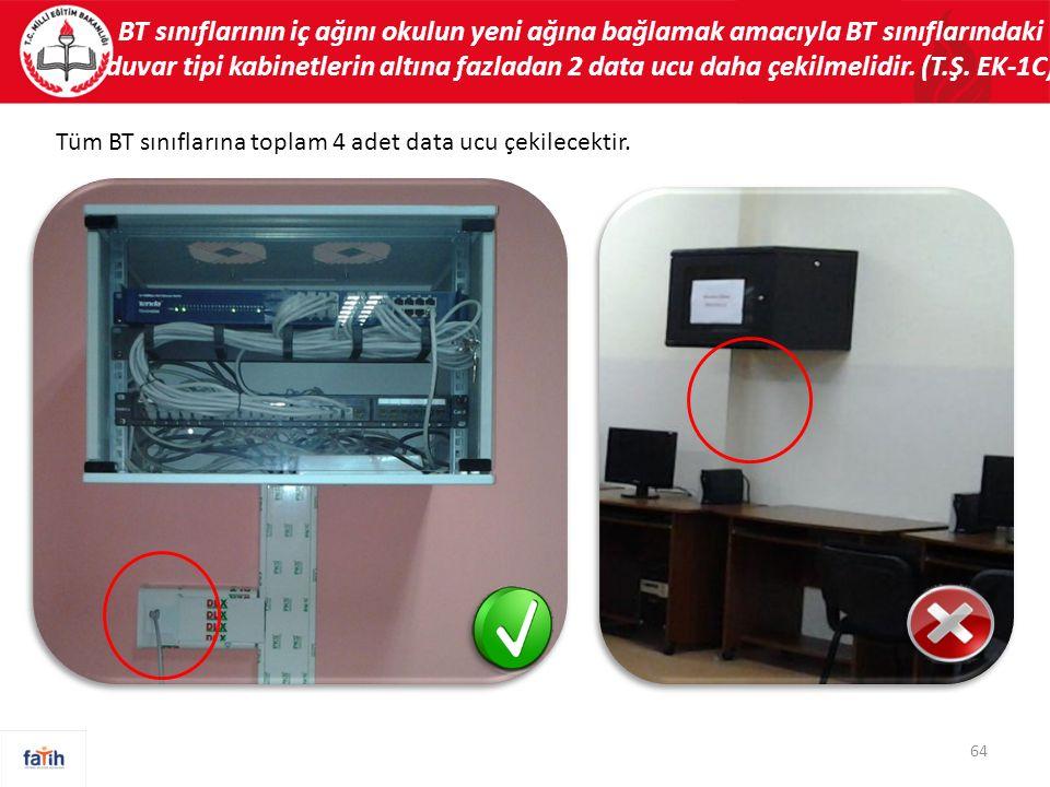BT sınıflarının iç ağını okulun yeni ağına bağlamak amacıyla BT sınıflarındaki duvar tipi kabinetlerin altına fazladan 2 data ucu daha çekilmelidir. (T.Ş. EK-1C)